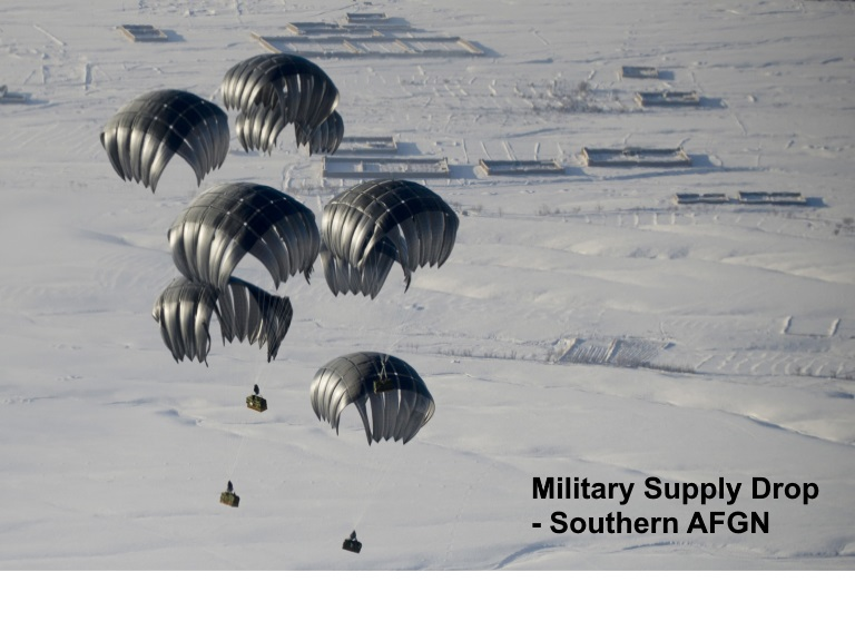 Air delivery cargo is airdropped Mar. 3, 2011, to a remote operating base in Afghanistan. (U.S. Air Force photo/Master Sgt. Adrian Cadiz)